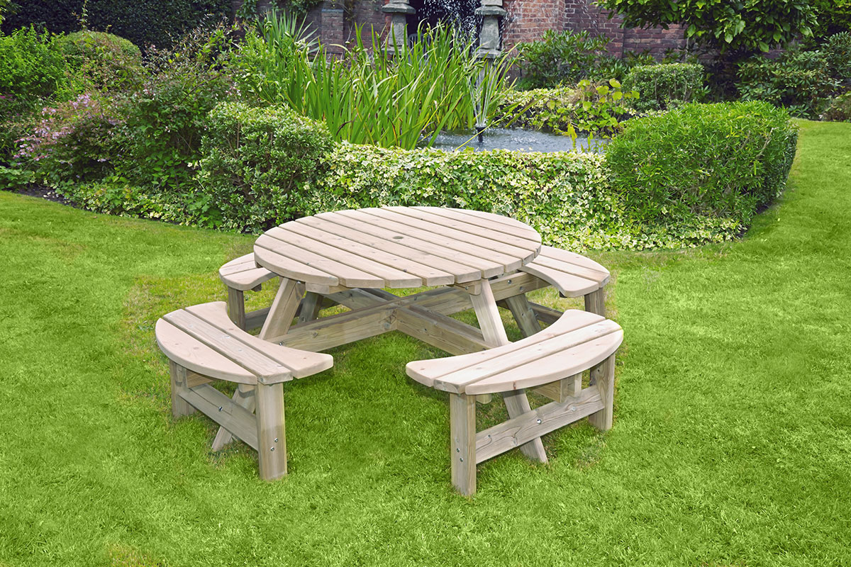 Picture of: Appleton Round Picnic Bench A1 Greenhouses